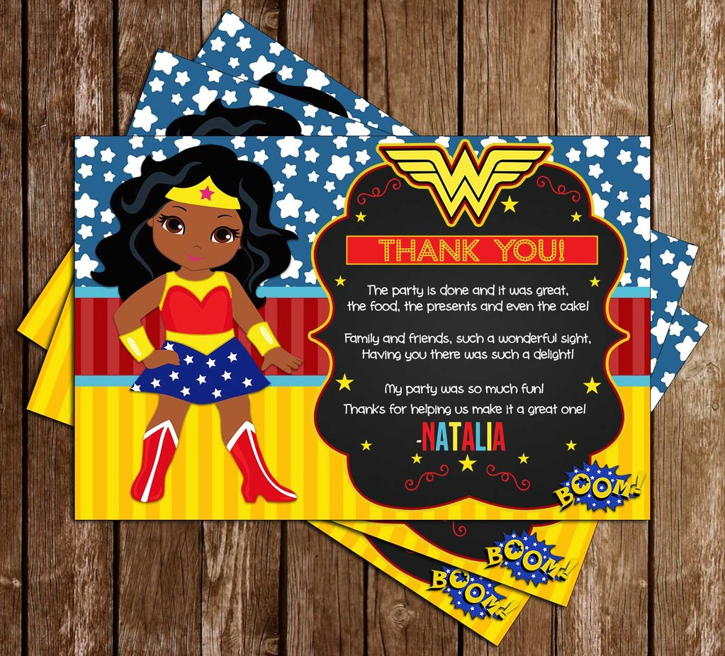 African american woman party clipart graphic royalty free download Wonder Woman - African American - Birthday Party - Thank You Card graphic royalty free download