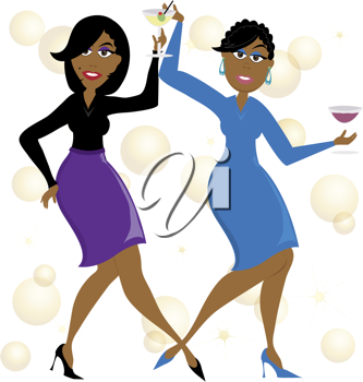 African american woman party clipart png black and white library Clip art illustration of a cartoon of African American women dancing ... png black and white library