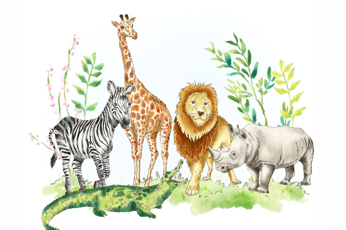 African anaminals clipart svg free Safari Jungle African animal clipart ~ Illustrations ~ Creative Market svg free