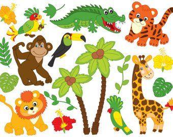 African anaminals clipart graphic stock Jungle Animals Clipart - Digital Vector Safari Animals, Jungle ... graphic stock