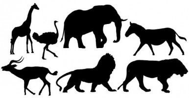 Free african animal clipart. Animals applique silhouette lion