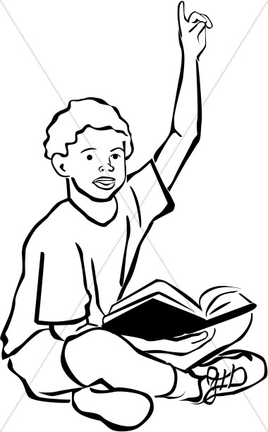 Raise your hand clipart black and white vector freeuse African American Bible Student | Sunday School Clipart vector freeuse