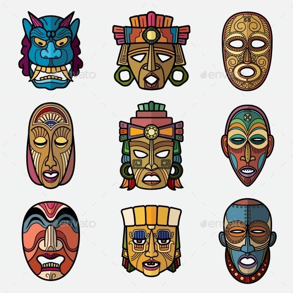 African cultural mask clipart png library stock African craft voodoo tribal mask and inca south american culture ... png library stock