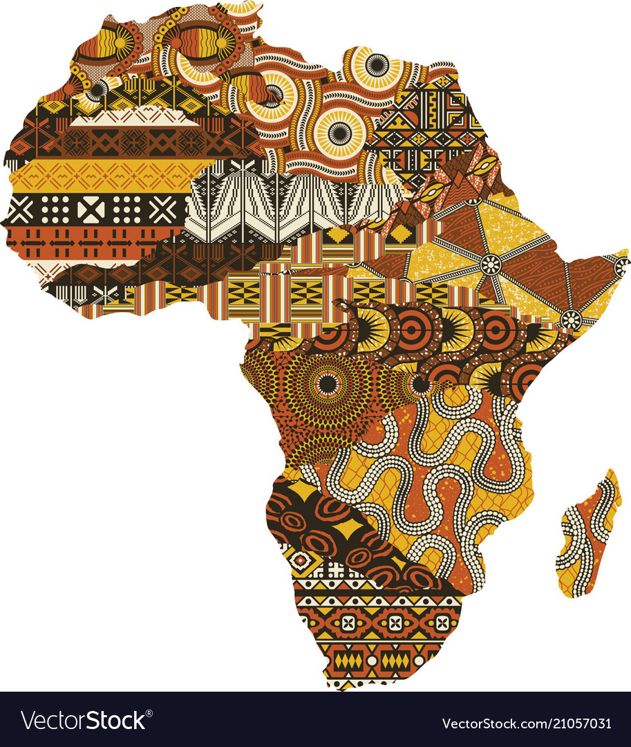 African fabric designs free clipart clip art freeuse Abstract africa map fabric patchwork clip art freeuse