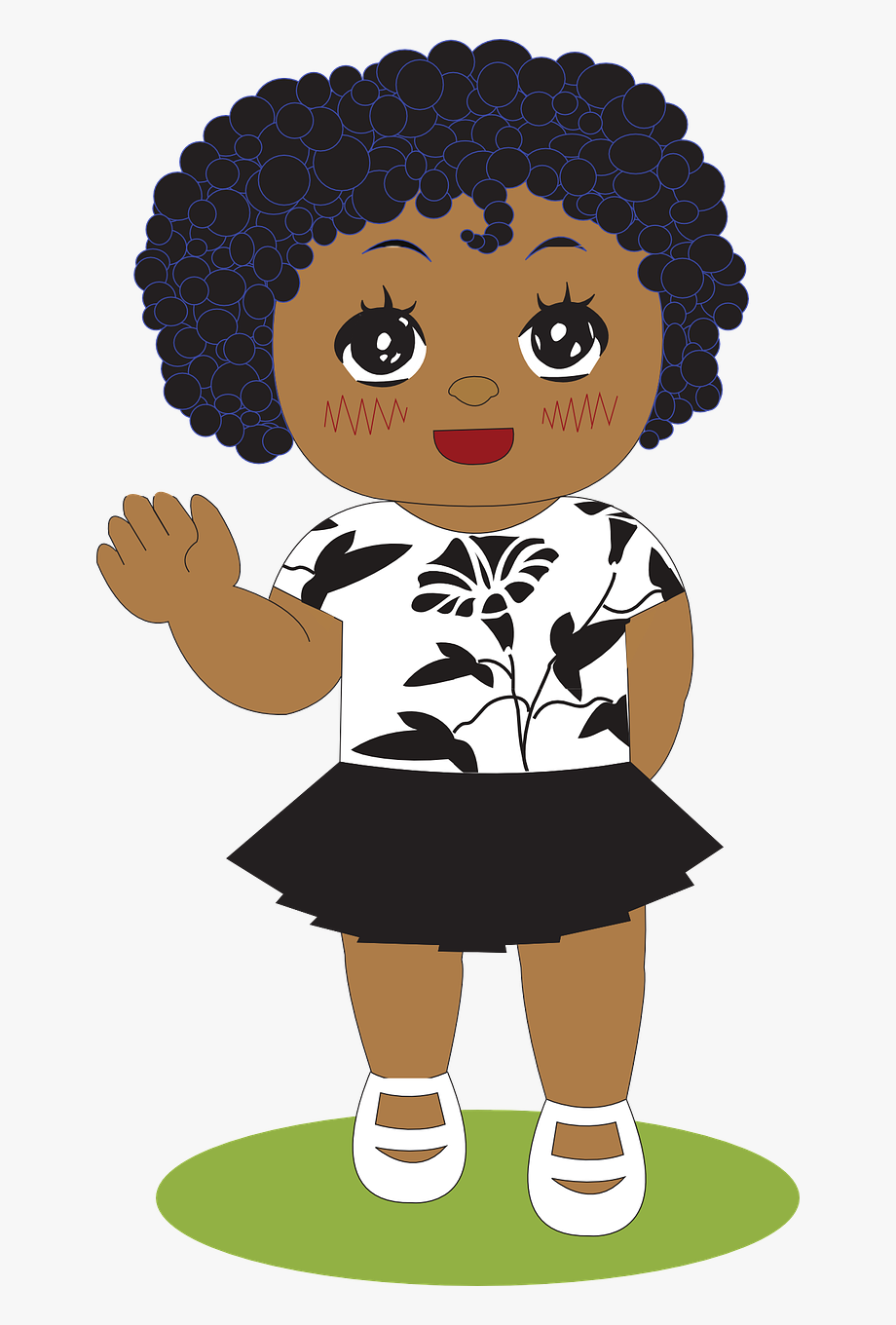 African girl clipart clipart picture free Little Girl Girl African Free Picture - Little Black Girl Waving ... picture free