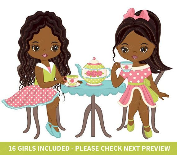 African girl clipart clipart banner free stock Tea Party Clipart - Vector Tea Clipart, African American Clipart ... banner free stock