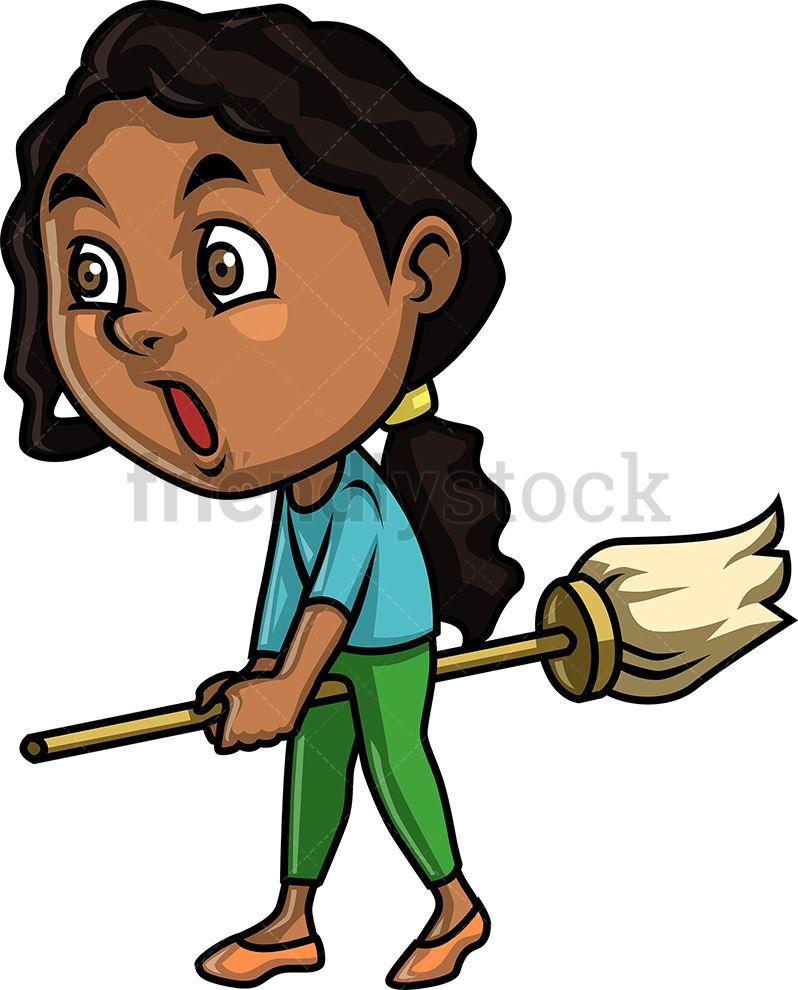 African hurting clipart banner download Black Little Girl Not Doing Much Cleaning | Kids Clipart | Black ... banner download