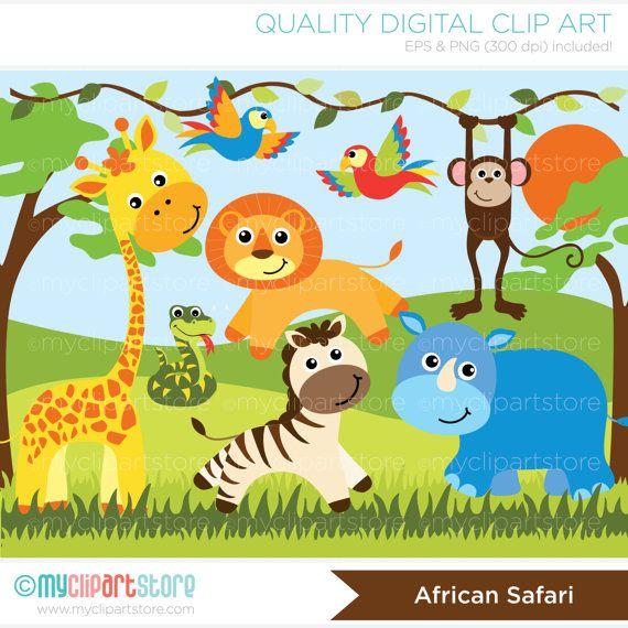 African jungle clipart clip art free download Clipart Jungle Animals / African Safari by MyClipArtStore   Dgital ... clip art free download