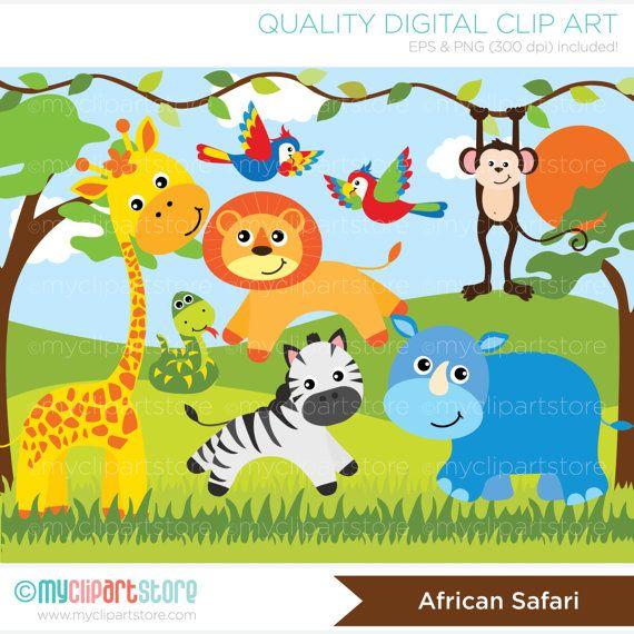 African jungle clipart clipart download Safari Animals Clipart, Jungle, giraffe, snake, parrots, monkey ... clipart download