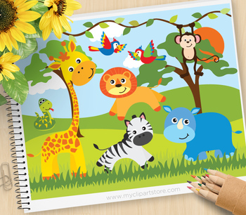 African jungle clipart svg black and white library Clipart - African Safari, Jungle Animals - Set 1 svg black and white library