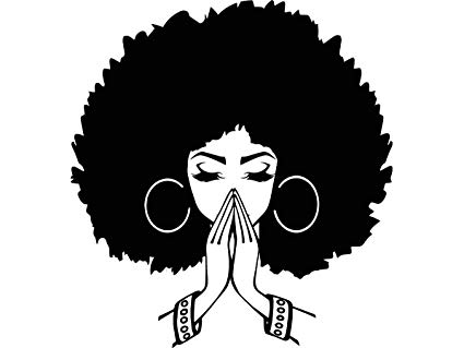 Black woman with afro clipart vector stock Amazon.com: Yetta Quiller Black Women Praying Nubian Princess Queen ... vector stock