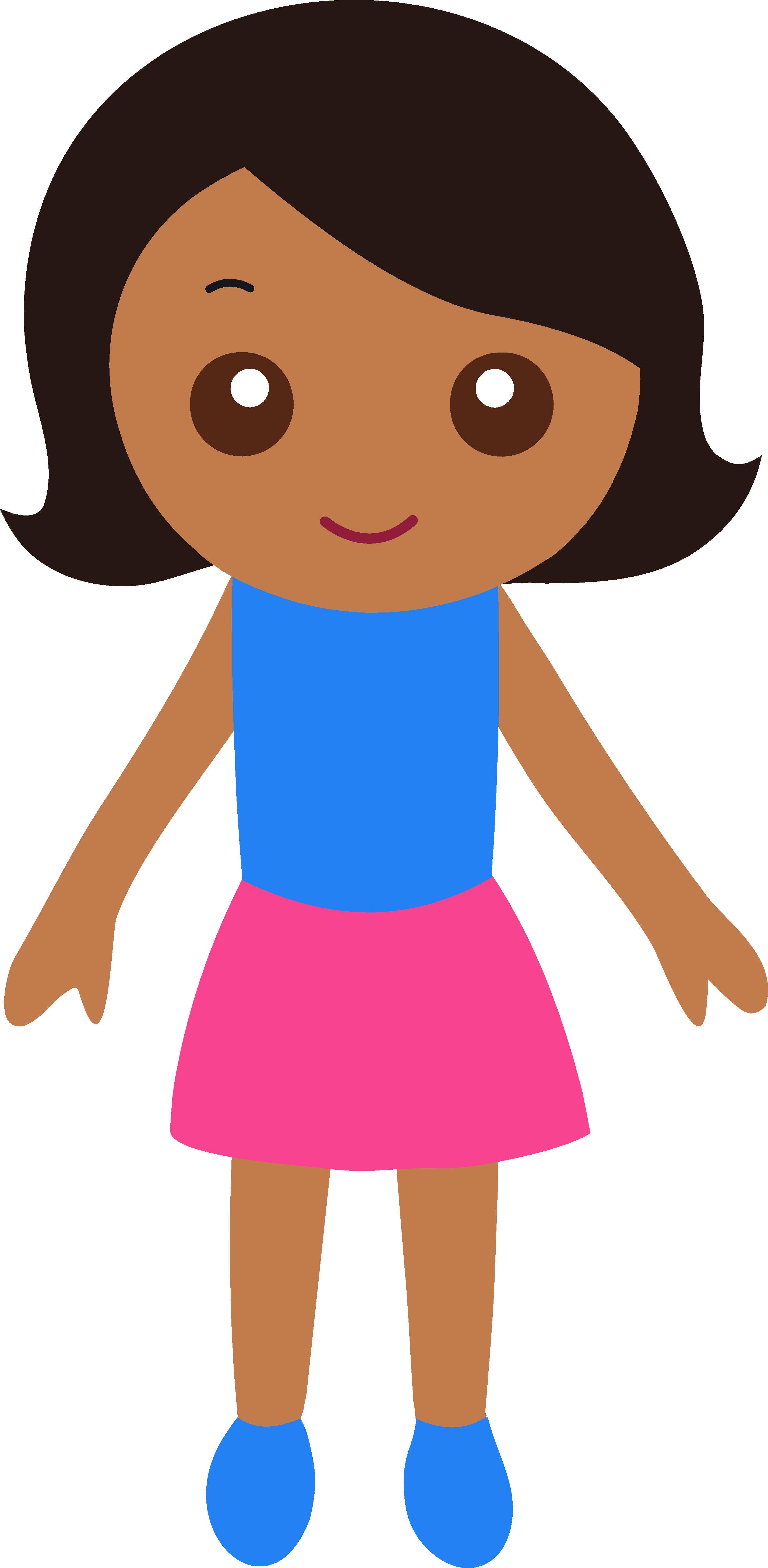 Little with black hair. Free clipart girl