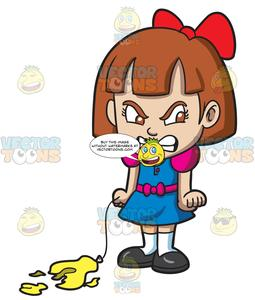 Clipart irritated vector download An Angry Little Girl With A Popped Balloon vector download