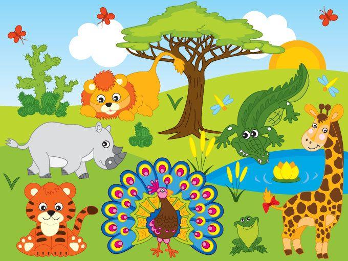 African plants clipart svg freeuse 70% OFF SALE Jungle Animals Clipart - Digital Vector Safari Animals ... svg freeuse