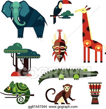 African plants clipart picture free library Vector Clipart - Geometric flat africa animals and plants. Vector ... picture free library