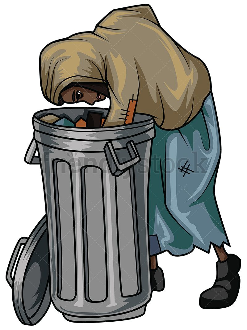 African rebels cliparts clip art library library Homeless Black Woman Looking For Food In Trash | 插画 in 2019 ... clip art library library
