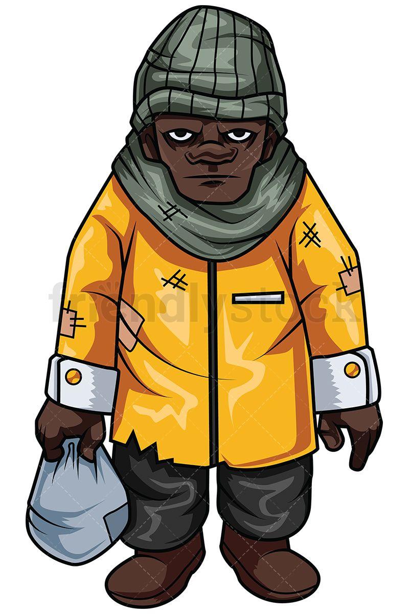 Balk clipart banner royalty free stock Homeless African-American Man | Cartoon clipart | Man vector ... banner royalty free stock