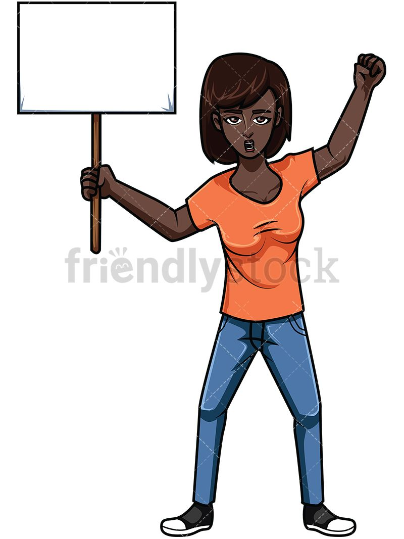 Women protesr clipart png black and white stock Black Woman Holding Protest Sign | Vector Illustrations | Protest ... png black and white stock
