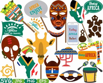 African safari images clipart image black and white library Props Africa Safari Amazon clipart wilderness mask Booth Party indian totem  190s image black and white library