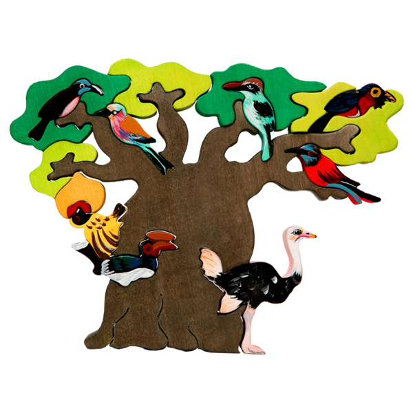 Bird tree clipart black and white library African Bird Tree Puzzle – Manine Montessori black and white library