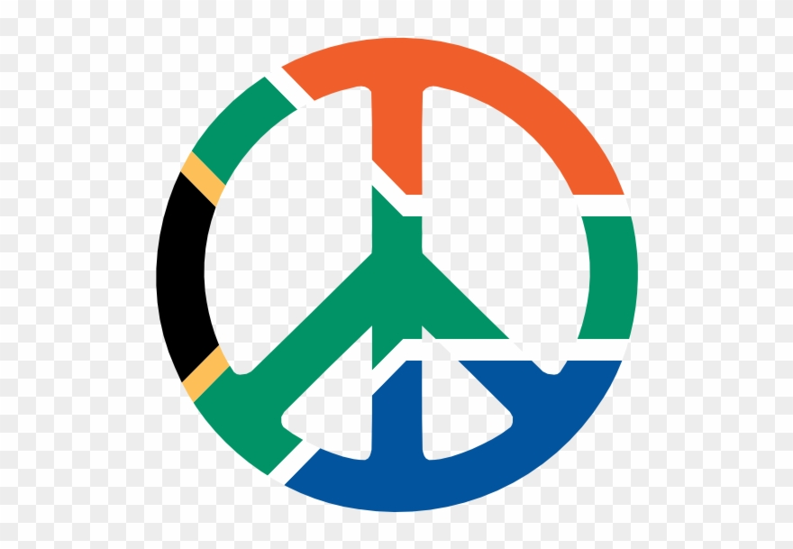 African trety sign clipart clipart black and white download Peace Clipart Africa - Peace Sign South African Flag - Png Download ... clipart black and white download