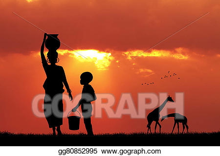 African women carrying water clipart graphic library download Drawing - African woman carrying water at sunset. Clipart Drawing ... graphic library download