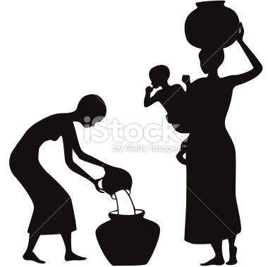 African women carrying water clipart