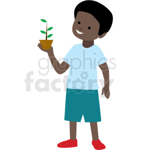 Africanamerican clipart svg african american boy holding plant vector clipart . Royalty-free clipart #  409990 svg