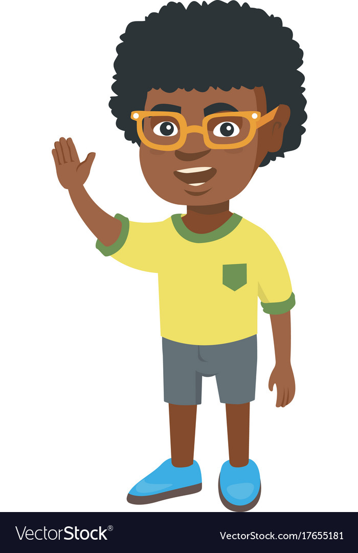 Afro clipart boy jpg black and white stock African-american little boy waving hand jpg black and white stock
