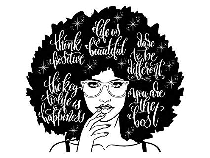 Black girl with afro clipart graphic black and white stock Amazon.com: Yetta Quiller Afro Woman Nubian Queen Diva Afro Hair ... graphic black and white stock