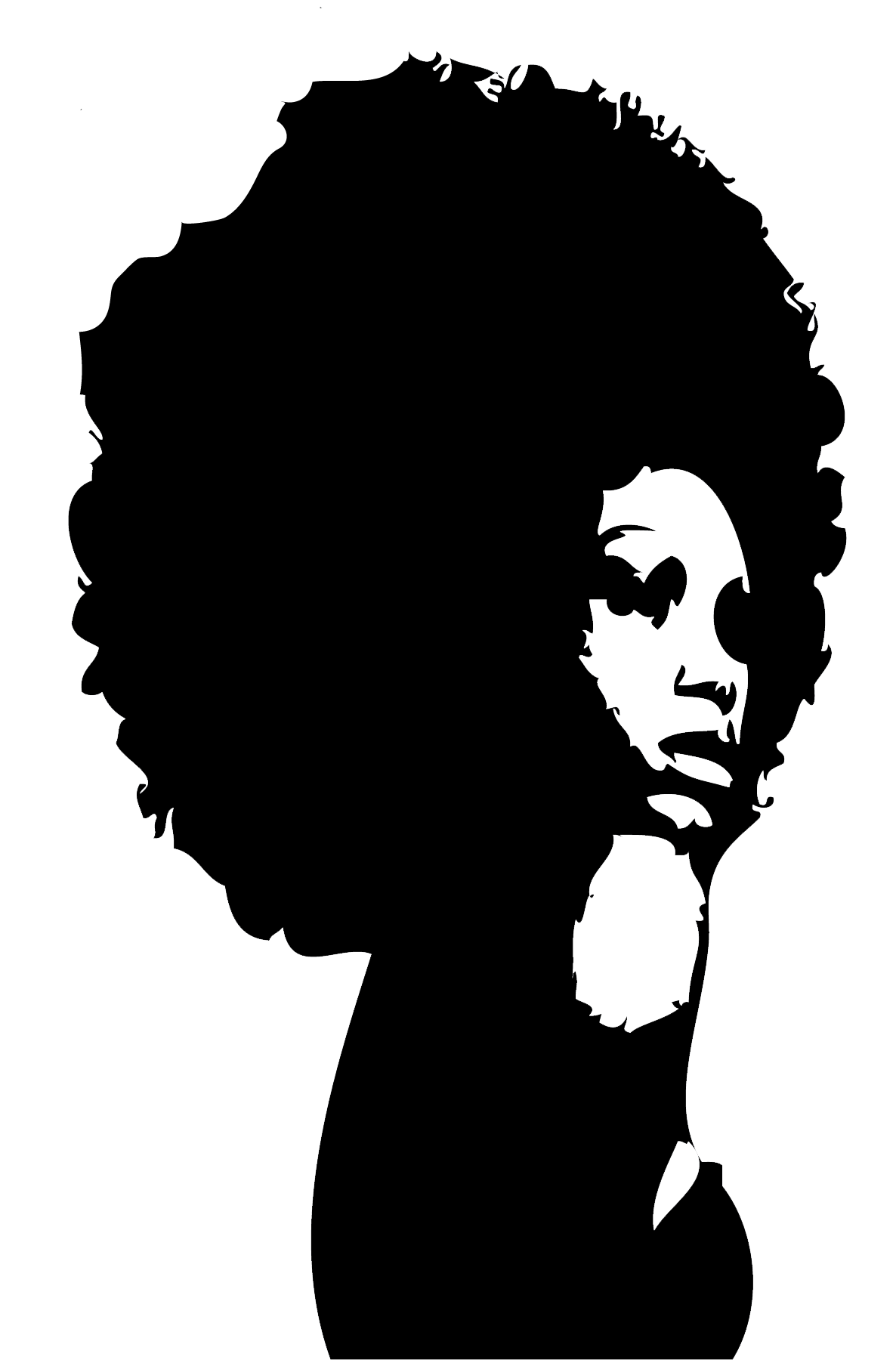 Afro hair in crown woman clipart png free Curly Afro Silhouette at GetDrawings.com | Free for personal use ... png free