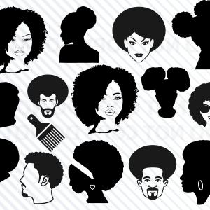 Curly hair boy black and white silhouette clipart clip art transparent stock Afro Puff Clip Art Afro Hairstyle | SOIDERGI clip art transparent stock