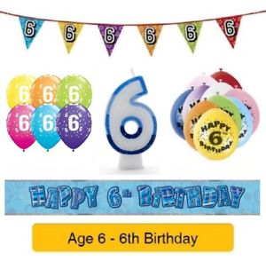 Age 6 birthday balloon clipart picture library library Details about Happy 6th Birthday AGE 6 Party Balloons Banners Badges &  Decorations Helium BOY picture library library