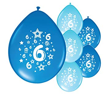 Age 6 birthday balloon clipart graphic black and white stock 10 x 6th BIRTHDAY BOY/ AGE 6 BOY BLUE AND LIGHT BLUE PACK BIRTHDAY BALLOONS  (PA) graphic black and white stock