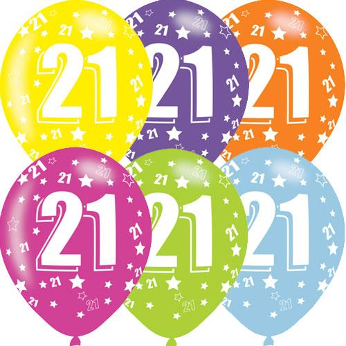 Age 6 birthday balloons clipart transparent Age 21 Asst Birthday Balloons 6 Pack transparent