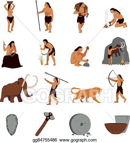 Age graphics clipart clip art transparent stock Vector Stock - Prehistoric stone age caveman icons. Clipart ... clip art transparent stock