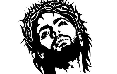 Agent for christ clipart graphic black and white download Black and white artistic face of Jesus Christ with a tribal crown ... graphic black and white download