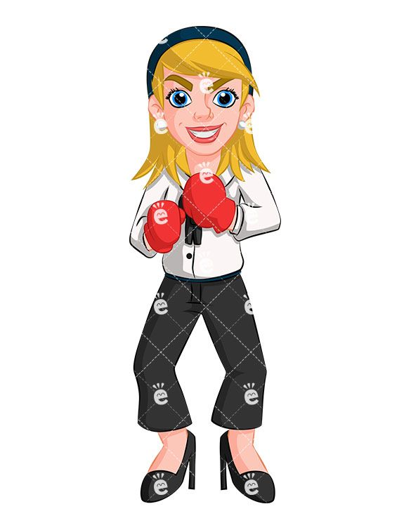Aggressive woman clipart graphic free stock A Businesswoman With Boxing Gloves Getting Ready To Fight in 2019 ... graphic free stock