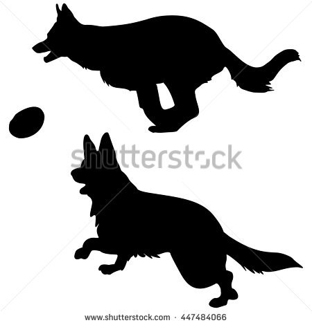 Vector Black Silhouette Jumping Dog Frisbee Stock Vector 71028490 ... vector library library
