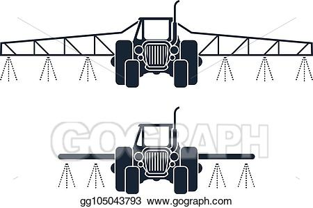 Agricultural irrigation clipart picture stock Vector Illustration - Fertilizer icon - tractor spraying pesticides ... picture stock