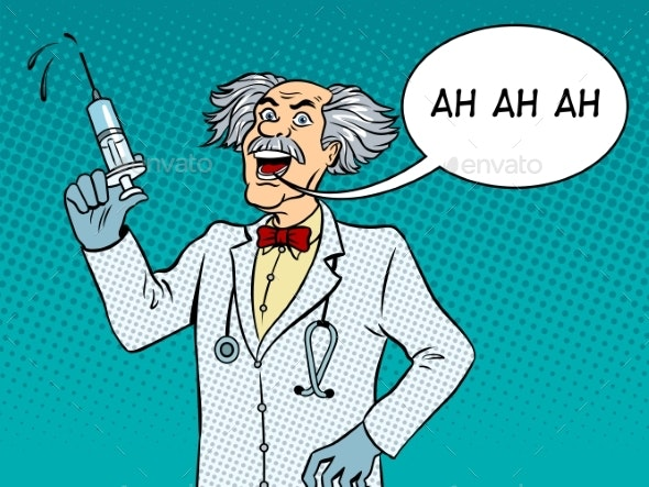 Ah doctor clipart transparent stock Mad Doctor with Syringe Pop Art Vector transparent stock
