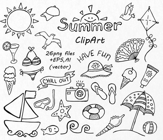 Clipart black and white traveling doodle illustrations vector library download Doodle Summer clipart, Hand drawn vacation clipart, Digital clip art ... vector library download