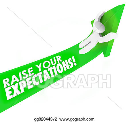 Aim higher clipart image free Stock Illustrations - Raise your expectations man riding arrow up ... image free