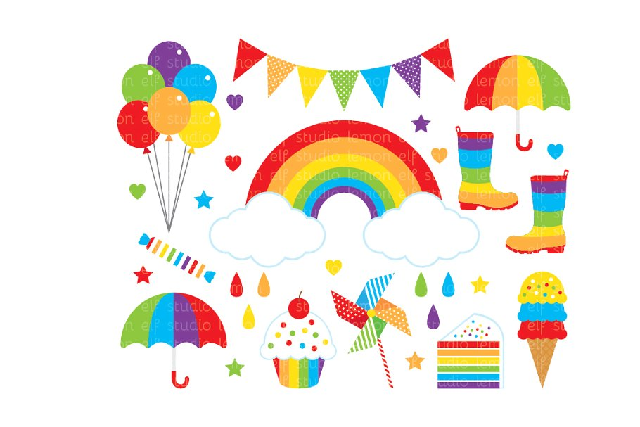Ainbow clipart banner transparent download Rainbow Clipart (LES.CL18A) banner transparent download