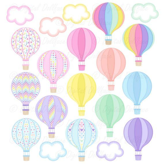 Baby shower balloon clipart clip black and white library Up, Up and Away Baby Shower Clipart, Hot Air Balloon Clip Art ... clip black and white library