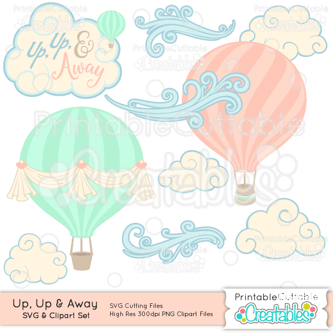 Air balloon up clipart vector library download Up, Up, & Away Hot Air Balloon SVG Cut File & Clipart Set vector library download