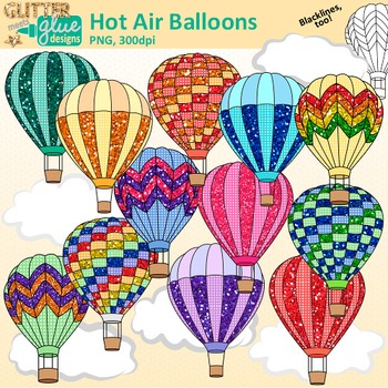 Air balloon up clipart graphic freeuse library Hot Air Balloon Clip Art: Spring Graphics {Glitter Meets Glue} graphic freeuse library