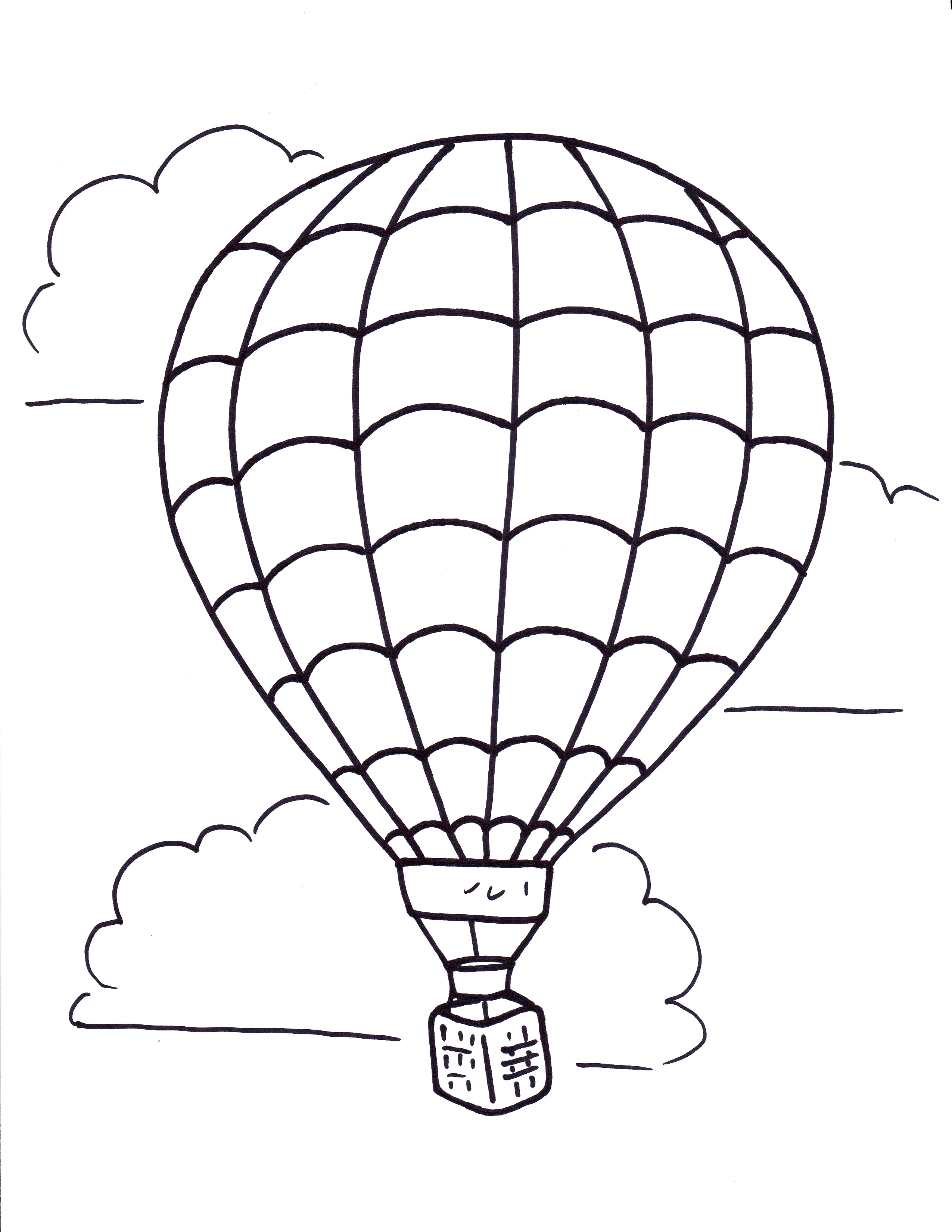 Air clipart black and white vector library Hot air balloon black and white related hot air balloon coloring ... vector library