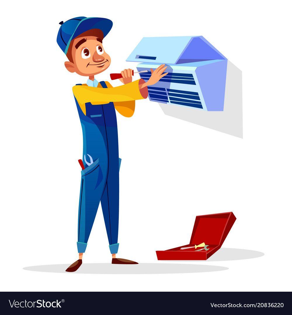 Air conditioning repair clipart library Air conditioner repair man cartoon Royalty Free Vector Image | อาชีพ ... library