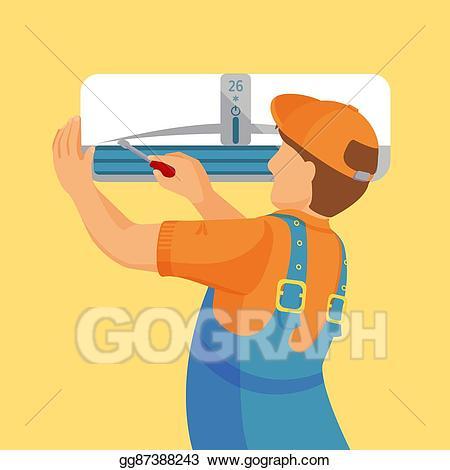 Air conditioning repair clipart png transparent download EPS Illustration - Air conditioner unit repair and installing ... png transparent download